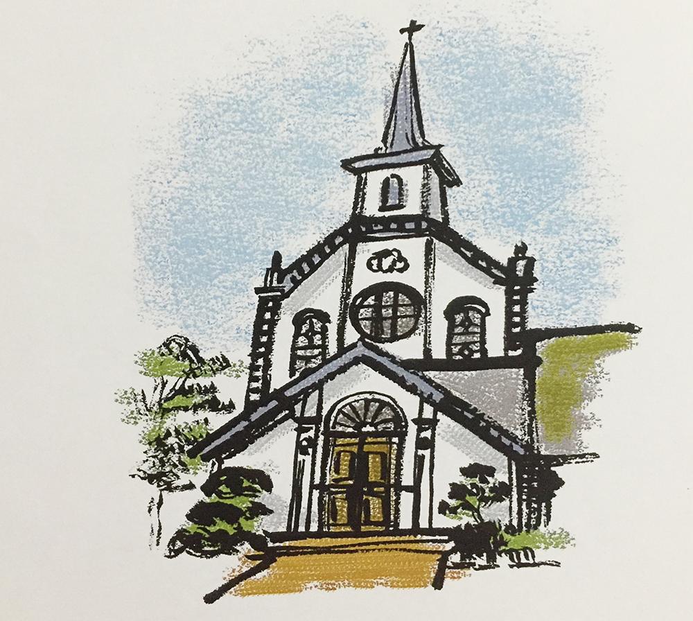 筆描きイラスト 天主堂