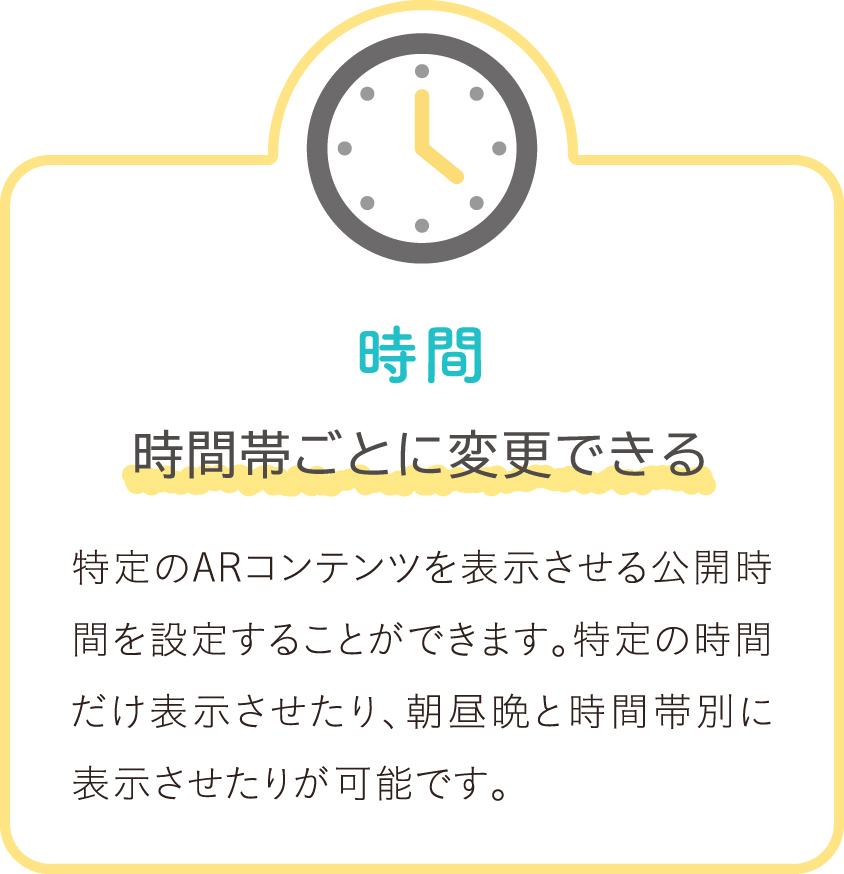 時間 時間帯ごとに変更できる 特定のARコンテンツを表示させる公開時間を設定することができます。特定の時間だけ表示させたり、朝昼晩と時間帯別に表示させたりが可能です。