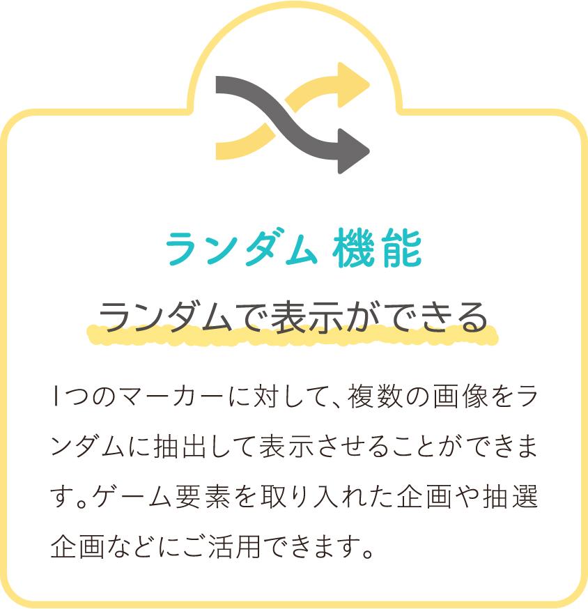 ランダム 機能 ランダムで表示ができる 1つのマーカーに対して、複数の画像をランダムに抽出して表示させることができます。ゲーム要素を取り入れた企画や抽選企画などにご活用できます。