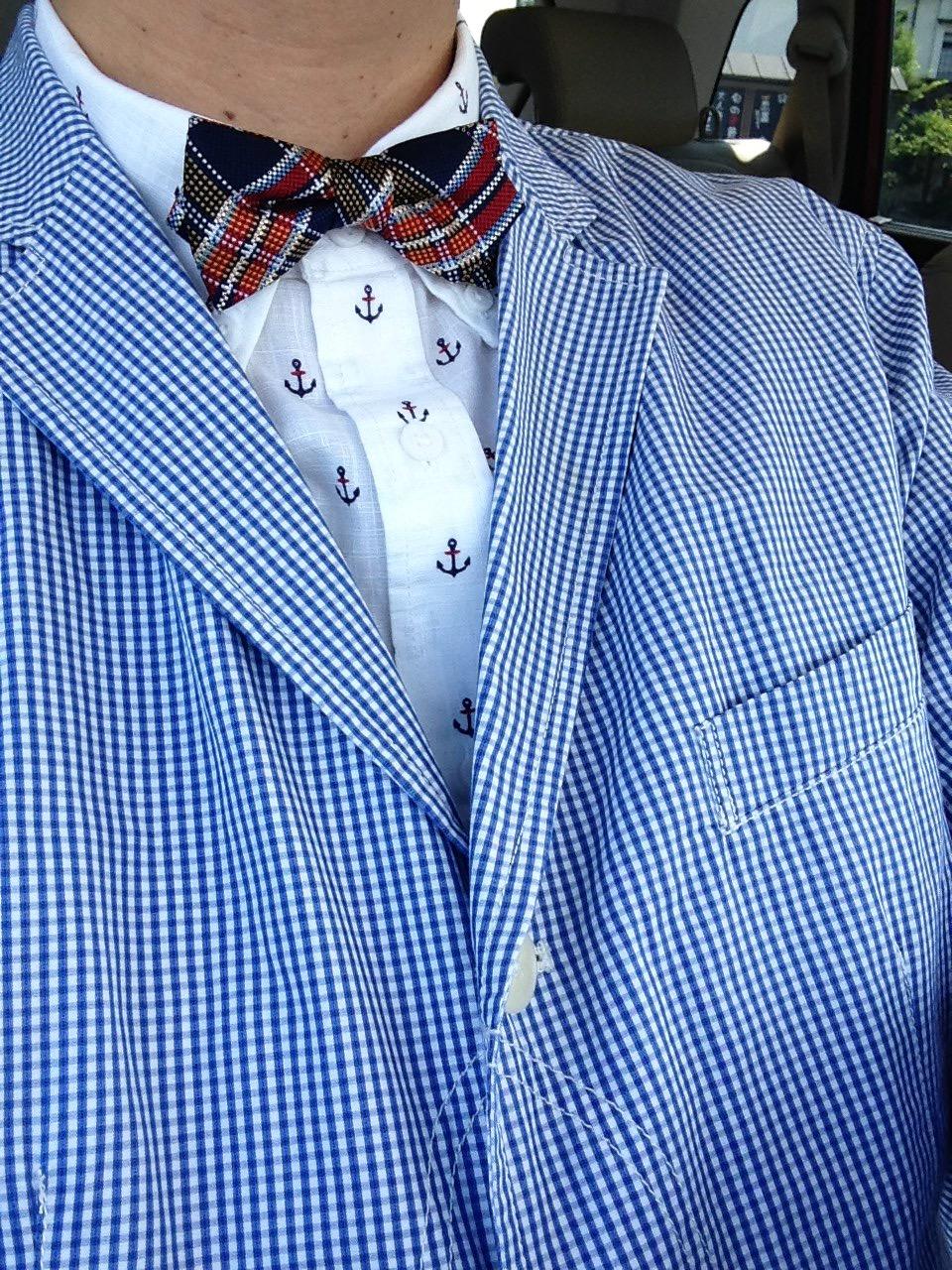 ギンガムのシャツ地でつくったジャケット