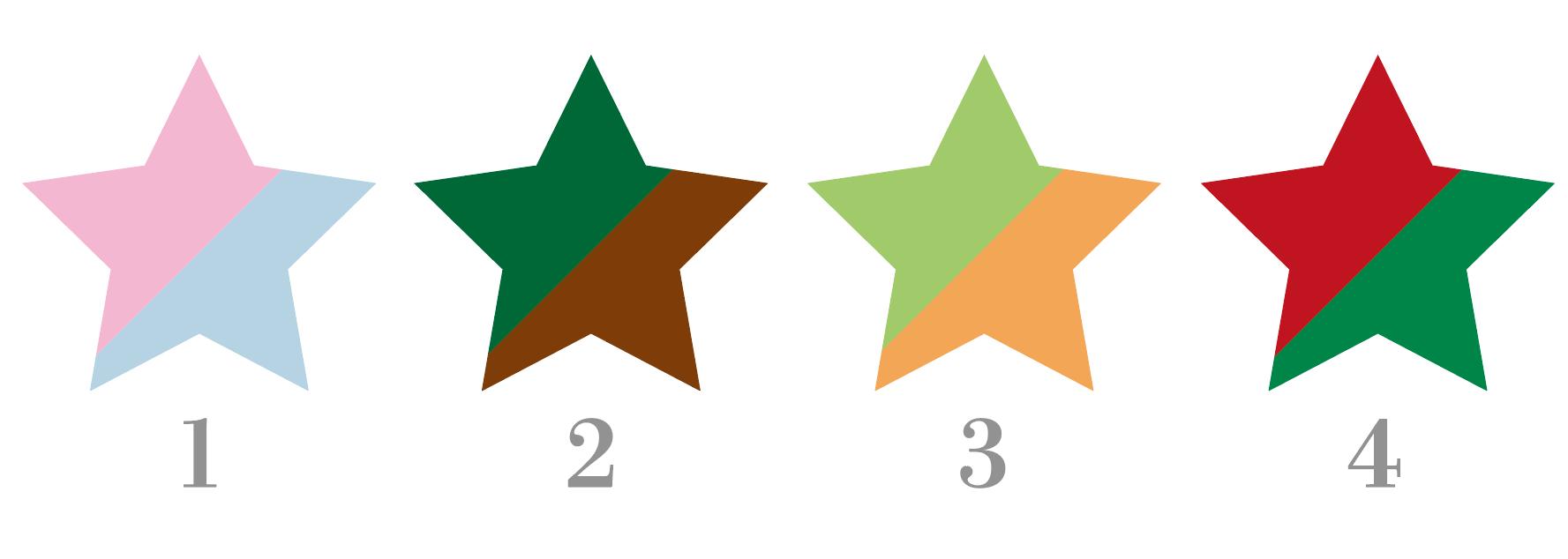 二色に塗り分けられた星型のイラスト例