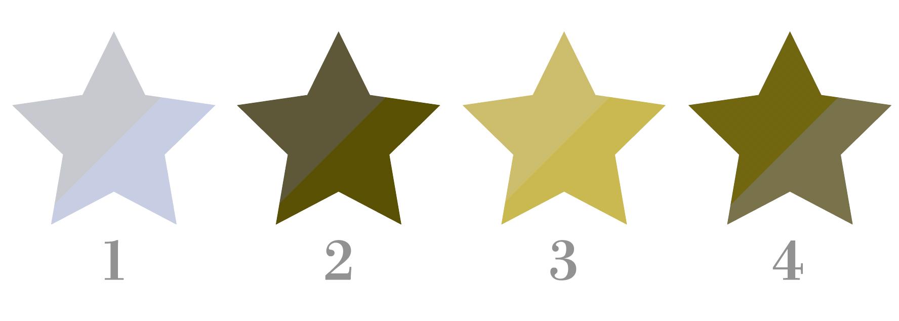 二色に塗り分けられた星型のイラストを2型2色覚の色覚障がいの人の見え方をシミュレーションした例